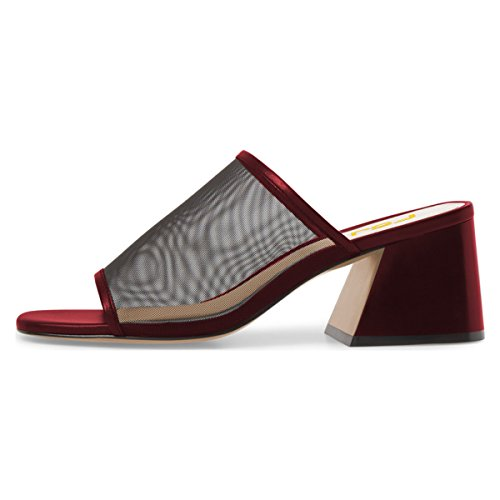 FSJ Women Comfortable Mesh Open Toe Sandals Chunky Heels Mules Slide Summer Shoes Size 4-15 US Wine