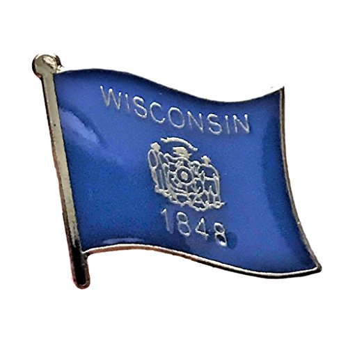 """Backwoods Barnaby Wisconsin Flag Pin/U.S. State Lapel Pins Collection (WI, 0.75"""" x 0.75"""")"""