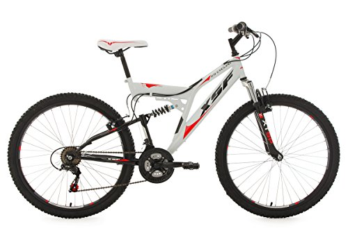 KS Cycling Fahrrad Mountainbike Fully XSF, weiß-rot, 26, 512M