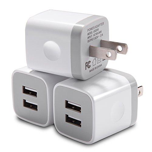 USB Wall Charger, WITPRO Dual Port USB 2.1AMP Wall Charger Plug Power Adapter Charging Block Compatible with iPhone X/ 8/7/ 6 Plus SE 5S 5C, Samsung, Moto, Huawei, Android Phones (White) 3-Pack
