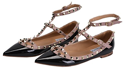 Pointy Strappy Dress Pumps beige Buckle Studs Women's Flats CAMSSOO Shoes Toe PU Metal Patant black Comfortable fatwcX