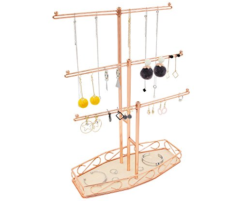 PAG Metal 3 Tier Jewelry Towers Tree Earring and Necklace Holder Stand Bracelet Display Organizer with Velvet Ring Tray for Girls, Rose (Rose 2 Tier)