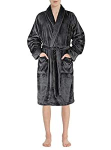 David Archy Men's Micro Fleece Robe Shawl Collar Bathrobe Gown(XL,Dark Gray)