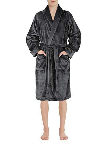 David Archy Mens Fleece Robe Ultra Soft Plush Shawl Collar Long Bathrobe Couple Pajamas