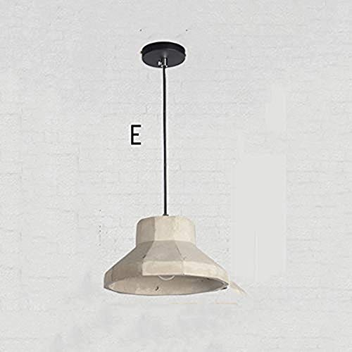 LHJ-Pendant Light Retro Industrial Wind Single Head Cement Chandelier Fashion Restaurant Bar Clothing Store Cafe Lighting (Color : E)