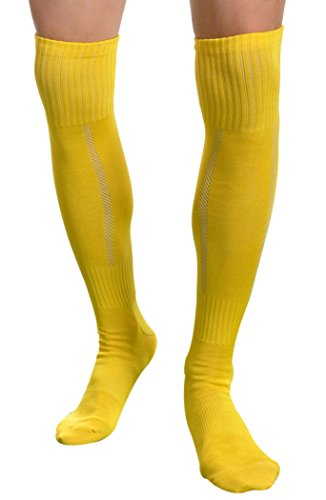 Aniwon Long High Over Knee Mens Soccer Basketball Athletic Socks Dry Fast,Medium,Yellow