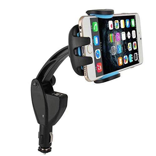 Coopsion Car Cradle Charging Dock Station, 2 USB Port Car Cigarette Lighter Mount Holder Charger Charging for iPhone, Samsung, Android and Smart Phone(blue)