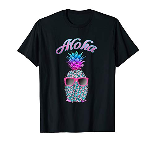 Cool Colorful Pineapple Hawaiian Aloha T-Shirt