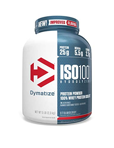 Dymatize ISO 100 Whey Protein Powder Isolate, Strawberry, 5 Pound