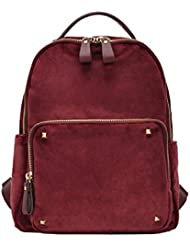 Womens Casual Solid Stud Velvet Big Pocket Backpack BGS-0732