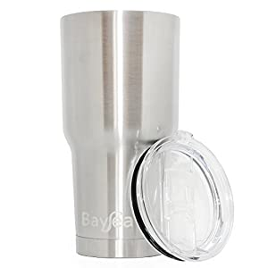 30 oz Stainless Steel Tumbler By BaySea - Vacuum Insulated To Keep Drinks Ice Cold Up To 24 Hours And Piping Hot Up To 6 Hours - 100% Satisfaction Lifetime Guarantee