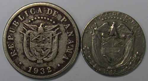 Review PA 1932 & 1968 Lot of 2 Panama 5 Centesimos & 1/10th Balboa Coins Fine+/VF