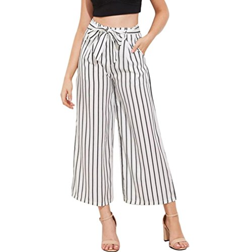 Bravetoshop Womens Long Wide Leg Pants Striped Drawstring Palazzo Pants Loose (White, XL) ()