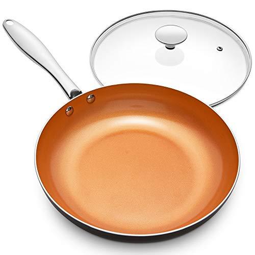 MICHELANGELO 10 Inch Frying Pan with Lid, Nonstick Copper Frying Pan with Titanium Ceramic Interior, Nonstick Frying…