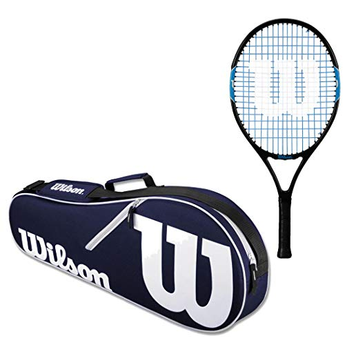 Wilson Ultra Team 23 Inch Junior Pre-Strung Blue/Black Tennis Racquet Set or Kit Bundled with a Navy/White Advantage 2-Pack Tennis Racket Bag and Can of Balls