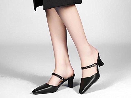 con ruvida tacchi nero AJUNR alti pantofole Da 6cm 38 appuntito Sandali Donna Scarpe Moda Alla x78n0BTZq8