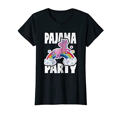 Unicorn Retro (Womens Pajama Party Retro Cute Unicorn Rainbow Bed Time PJ T-Shirt XL Black)