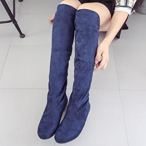 Sopra Heels Martin Stivali Il Blu Invernali Boots Top Cavaliere Ginocchio Autunno Inverno Donna Beauty xqwY5z70