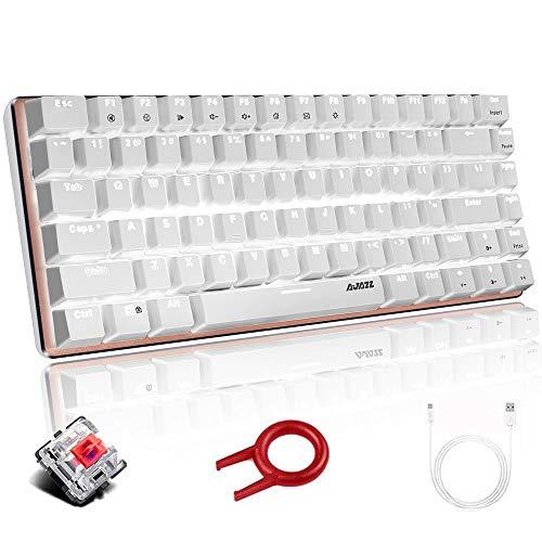 Teclado mecanico, AK33 Teclado mecanico para juegos con cable USB retroiluminado con LED blanco, Teclado compacto para juegos de 82 teclas con teclas anti-efecto fantasma(Interruptor rojo, blanco)