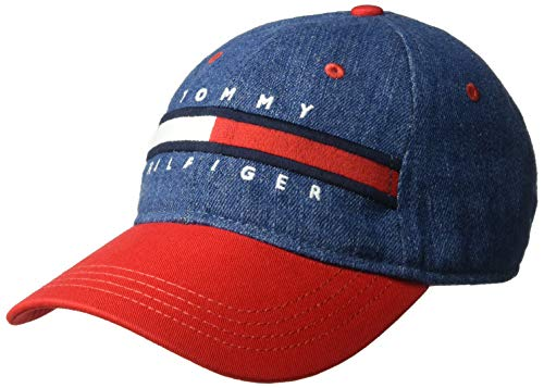 (Tommy Hilfiger Men's Dad Hat Avery, Denim/Racing red, O/S)