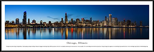 Blakeway Worldwide Panoramas Chicago Shoreline at Night - Blakeway Panoramas Panoramic Posters with Standard Frame,