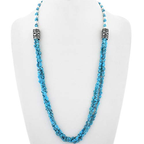 Navajo Spiderweb Turquoise Nugget Silver Necklace Three Strander 0205 ()