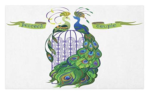Lunarable Peacock Doormat, Bird Couple on Cage Silhouette Style Drawing Colorful Animal Pattern Abstract Shape, Decorative Polyester Floor Mat with Non-Skid Backing, 30 W X 18 L Inches, Multicolor ()
