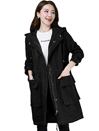 Mordenmiss Women's Utility Light Parka Long Cotton Windbreaker Hoodie Trench Coat L Black ()