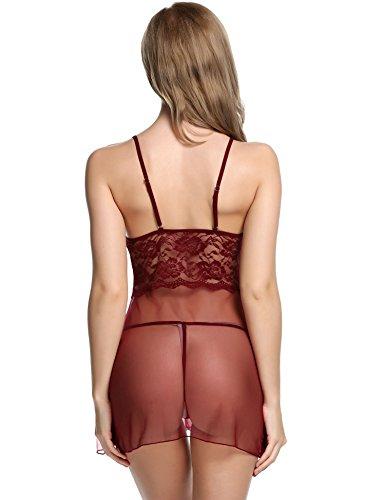 Avidlove Mujeres Conjunto de Vestido Atractiva Estampado Correa Encaje y G-string Rojo Profundo