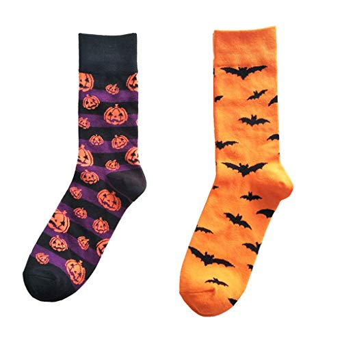 Men's Cotton Funny Crew Socks, Ribart Punpkins Bats Winter Warm Novelty Casual Socks 2 Pairs -