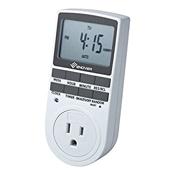 Enover 7-day Programmable Plug-in Digital Timer Switch with 3-prong Outlet for Lights and Appliances, 15A/1800W