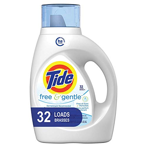 Tide Free and Gentle HE Liquid Laundry Detergent, 50 oz., Unscented and Hypoallergenic for Sensitive Skin, 32 Loads