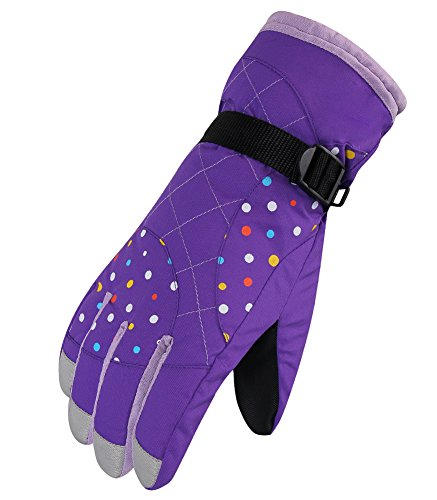 Waterfly Fashion Women's Femal Warm Waterproof Winter Outdoor Glove Cycling Gloves Biking Gloves Snowmobile Snowboard Ski Gloves Athletic Gloves Mittens (Purple)