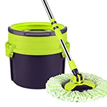 GAOJIAN Portable Household Stainless Steel Spinning Mop Bucket Hand Press 360 Degrees Spin Dry Magic Mop Rotating Mop Cleaning Bucket