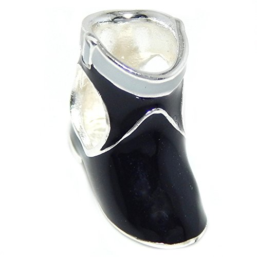 Pro Jewelry 925 Solid Sterling Silver Woman's Low Black Boot Charm Bead