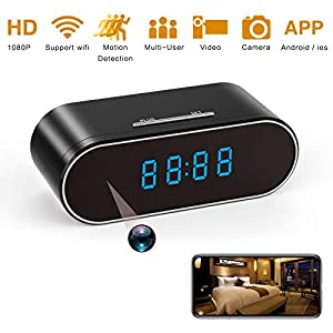 Spy Camera 1080P WiFi, Hidden Cameras Clock Video Recorder Wide Angle Lens Wireless IP Camera for Indoor Home Security Monitoring Nanny Cam with Night Vision Motion Detection