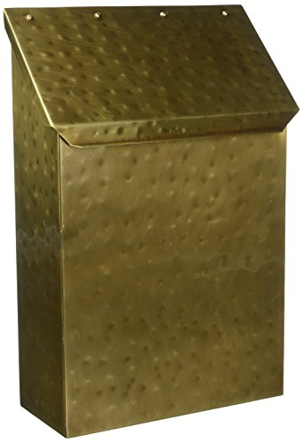 (Vertical Mailbox in Antique Hammered Brass Finish)