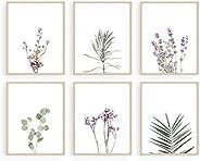 HAUS AND HUES Juego de 6 impresiones florales y pósteres de plantas con diseño botánico y arte de pared floral