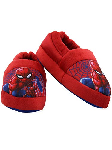 Spider-Man Toddler Boys Plush Aline Slippers (11-12 M US Little Kid, Red/Blue)