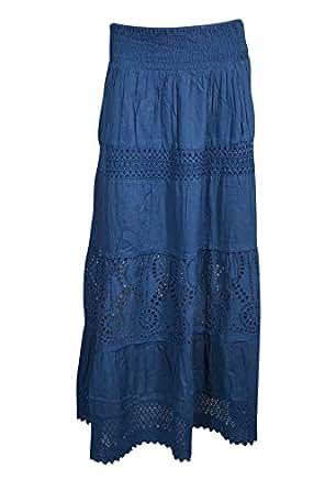 Womens Long Skirts Flare Style Crochet Lace Work A-line Bohemian Sexy Skirts Small/Medium (Blue)