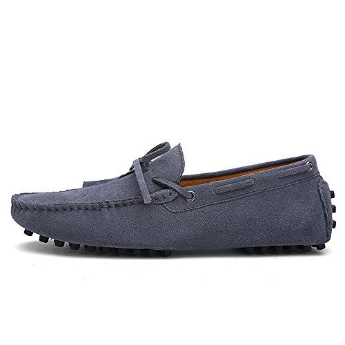 in Mocassini da Da guida Grigio EU uomo shoes 2018 pelle vera Uomo Dimensione Scarpe Mocassini 46 da Color leggeri Shufang EqxROvwn