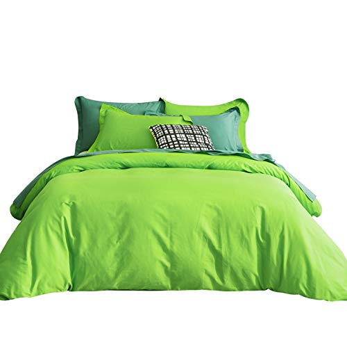SUSYBAO 3 Pieces Duvet Cover Set 100% Natural Cotton King Size 1 Duvet Cover 2 Pillow Shams Light Green Luxury Quality Ultra Soft Breathable Comfortable Fade Resistant Solid Bedding with Zipper Ties