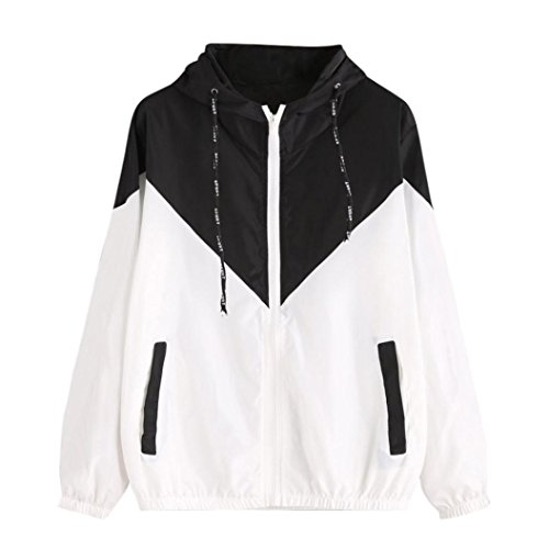 Women Hoodie Jacket,Lelili Warm Three-Color Patchwork Long Sleeve Zip Button Up Pockets Jacket Outwear Coat with Hood (XL, Black)