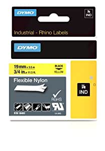 DYMO RhinoPRO Adhesive Nylon Fabric Thermal Transfer Label Tape 3/4-inch, 11 1/2-foot cassette, Yellow (18491)