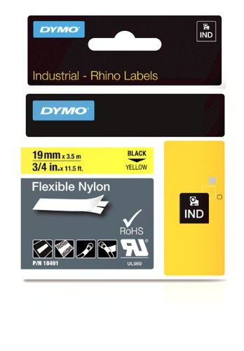 DYMO Industrial Labels for DYMO Industrial RhinoPro Label Makers, Black on Yellow, 3/4