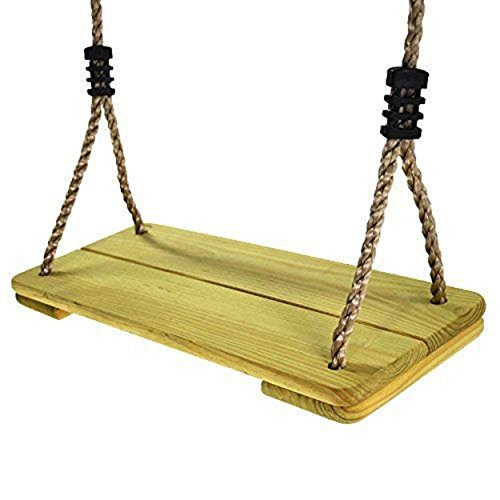 Price comparison product image HappyPie Nostalgic Children to Adult Wooden Hanging Swings Seat with 78'' Heigh