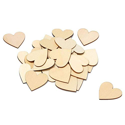 Wooden Heart Box - 2-Inch Wood Heart 100pcs Blank Unfinished Wooden Slices Discs Cutout Pieces Wedding Guestbook Signin Party Guest Greetings DIY Crafts Projects