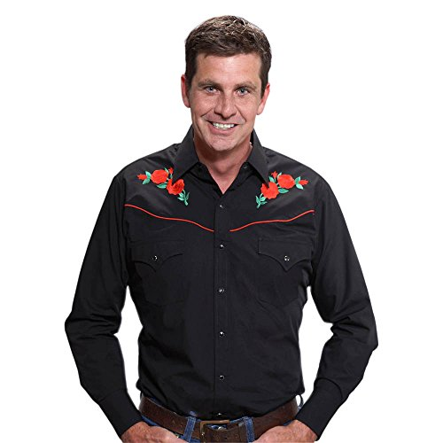 ELY CATTLEMAN Men's Embroidered Rose Design Western Shirt Black (Rose Embroidered Shirts)