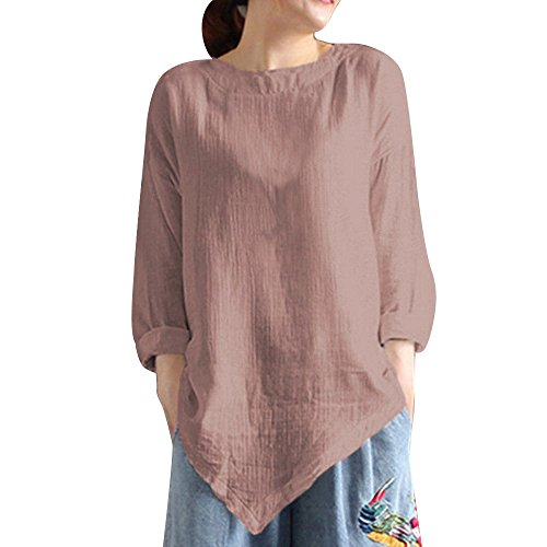 Clearance Womens Tops ,KIKOY Summer Vintage Cotton Linen Long Sleeve Shirt Casual Loose Blouse -