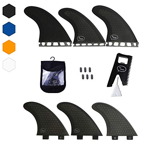 Thruster Surfboard Fins (3 Fins) - Perfect Flex with Honeycomb (Black, FCS)